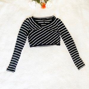 BCBGMaxAzria black and white Striped crop top